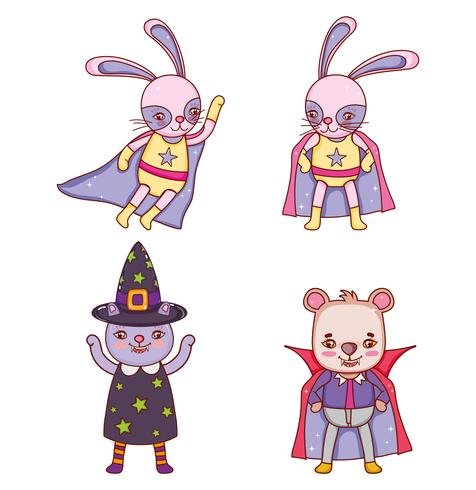 Satz des Tierhalloween-Kostüms