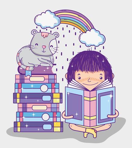 Ragazza carina con libri