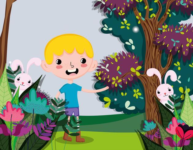 Chico lindo en el bosque