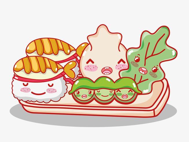 Simpatici cartoni animati kawaii della gastronomia giapponese