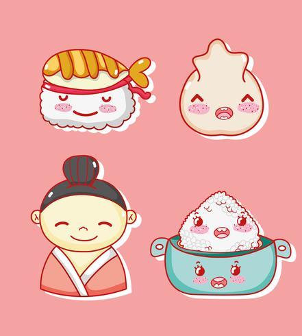 Japanese gastronomy cute kawaii cartoons vector
