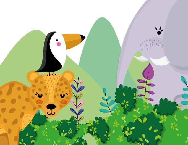 Dibujos animados lindos animales de la fauna vector