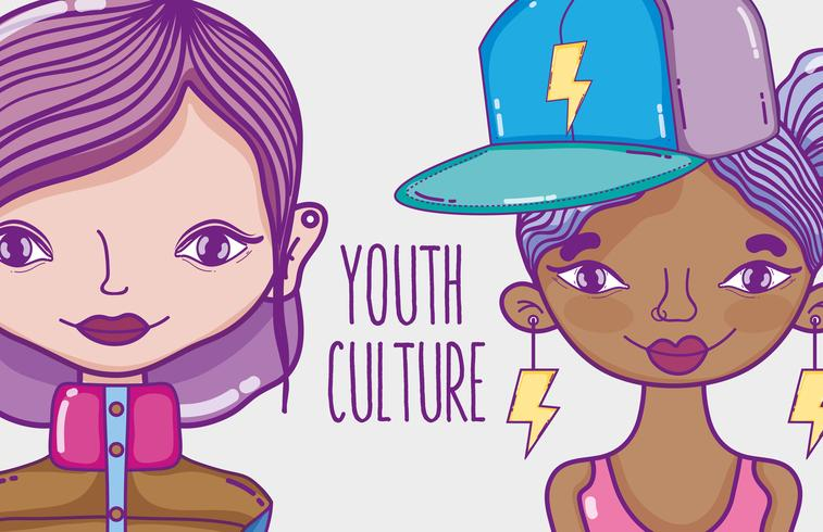 Desenhos animados das mulheres millenial da cultura da juventude vetor