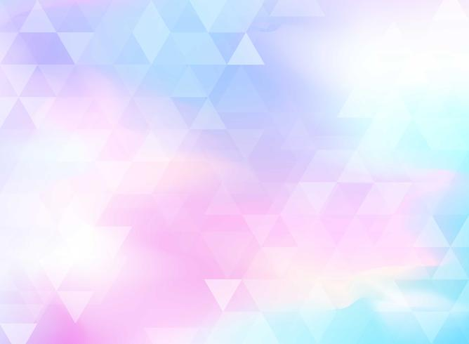 Abstrakt färgrik triangelmönster på holografisk foliebakgrund.