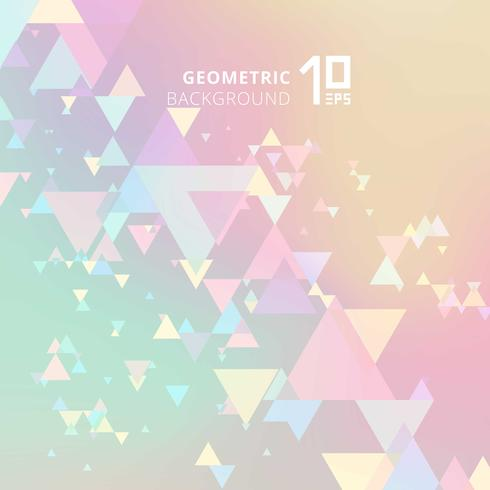 Colori astratti dei pastelli e triangoli di sovrapposizione geometrici moderni creativi su fondo olografico.