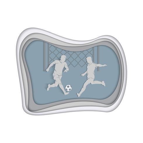 Fußballhintergrund mit Fußballspielern, die die Kugel schlugen. Sport. Abbildung mit mehrschichtigem geschnittenem Papier.