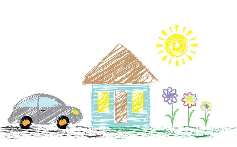 Matita da disegno per bambini con una foto di una casa, una macchina. Può essere utilizzato come sfondo, carta da parati, per la decorazione. Vettore