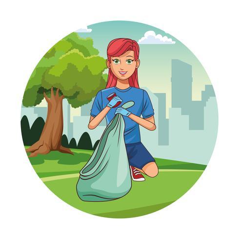Caricature de fille bénévole nettoyant le parc