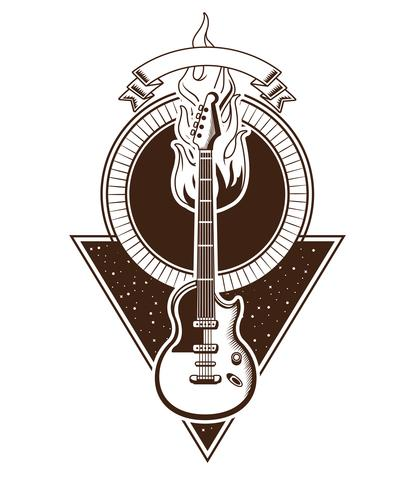 Rock and roll vintage emblem with drawings vector
