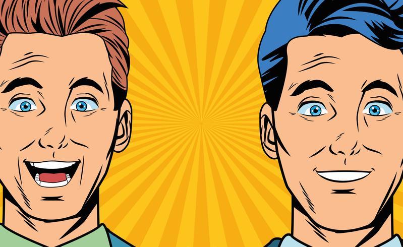 Pop art surpris hommes d'affaires visages cartoon
