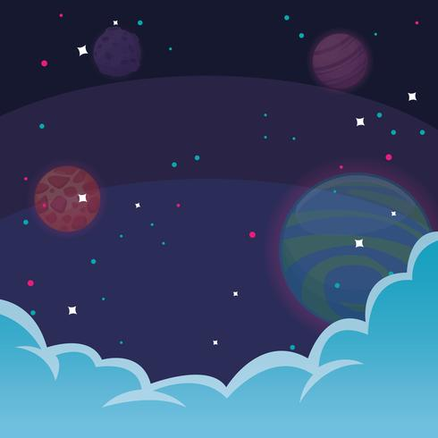 space with stars and clouds