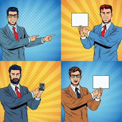 Los hombres de negocios del arte pop de dibujos animados