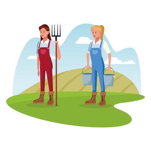Gli agricoltori che lavorano in cartoni animati agricoli