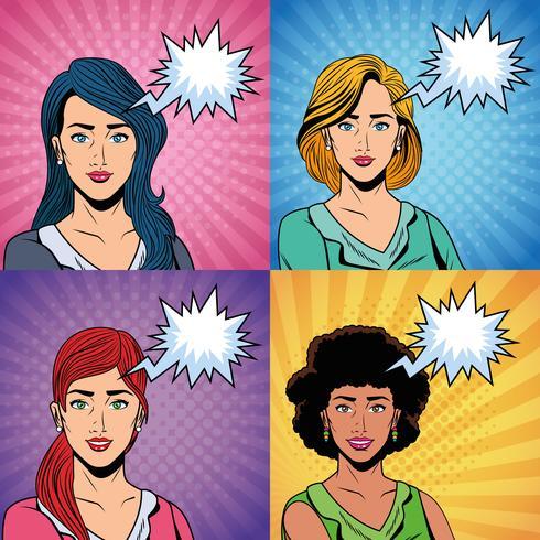 Pop art women vector
