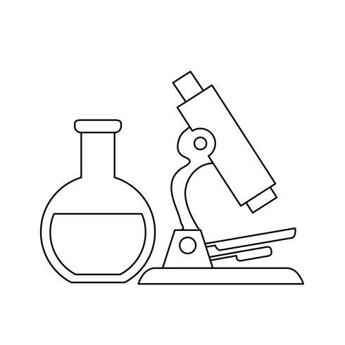laboratorio di prova in provetta con microscopio vettore