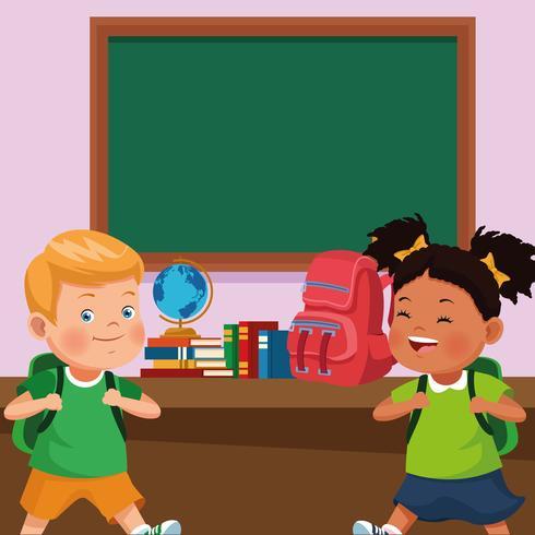 tillbaka till skolan barn tecknad film