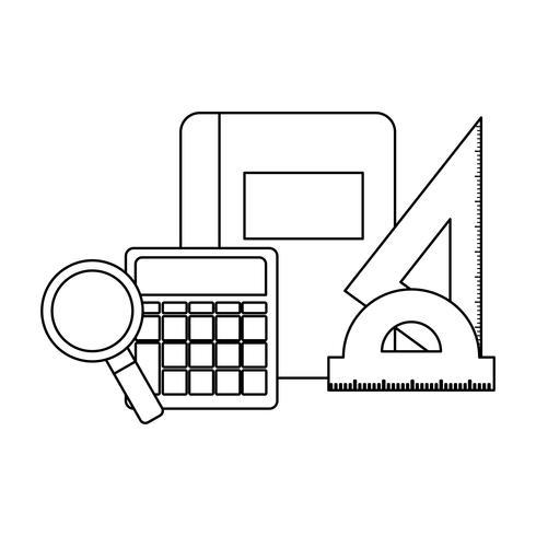 textbook school with supplies school vector