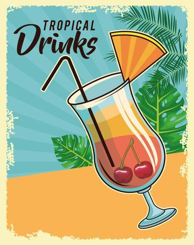 affiche cocktail tropical
