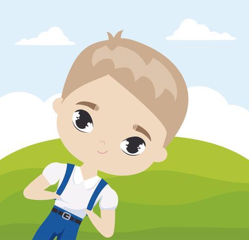 ragazzo carino piccolo studente in scena di paesaggio