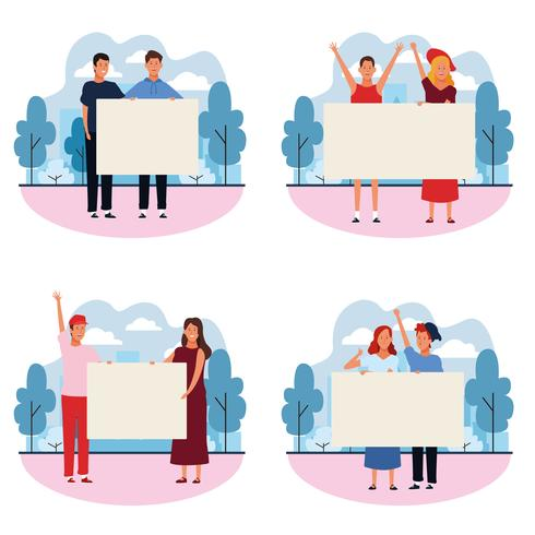 set of people with posters vector