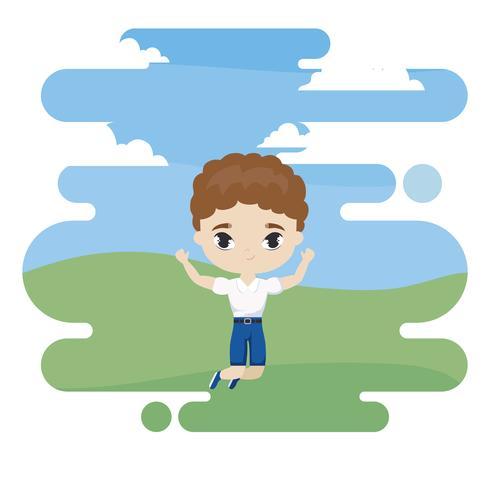 schattige kleine student jongen in landschapsscène