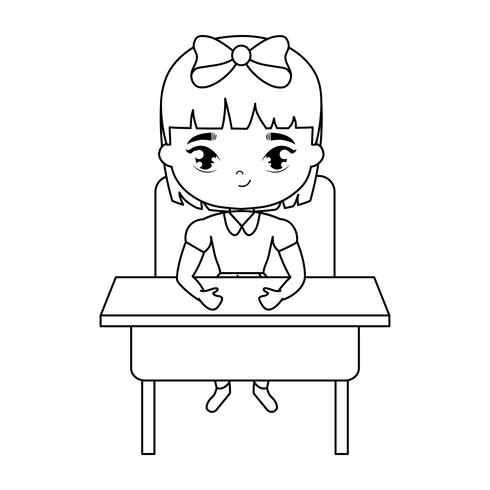 aluna menina sentada na mesa da escola vetor