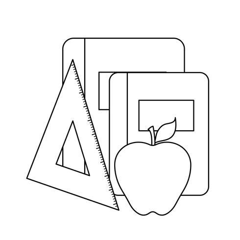 escola de livro didático com regra e fruta da maçã