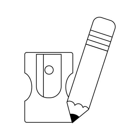 école de crayon avec la fourniture de taille-crayon