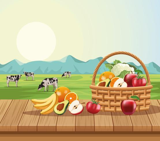 Frutas y verduras en cesta.
