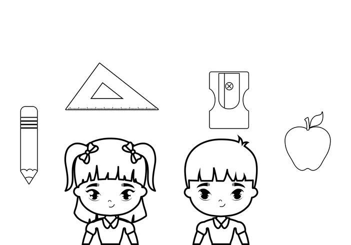 Lindos y pequeños estudiantes con útiles escolares. vector