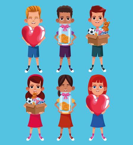 Kids donation and charity cartoon vector