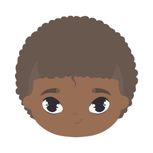 hoofd van schattige kleine jongen afro avatar karakter