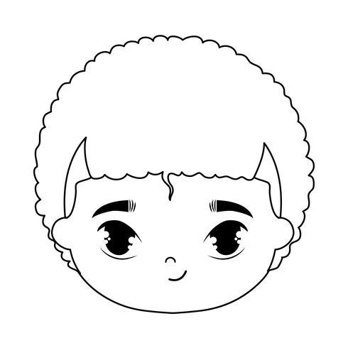 hoofd van schattige kleine jongen avatar karakter