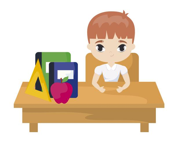 étudiant garçon assis sur un banc d'école avec fournitures éducation