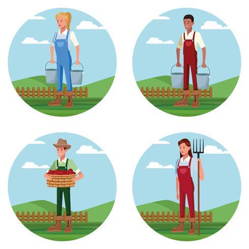 Conjunto de agricultores que trabajan en caricaturas de granja vector