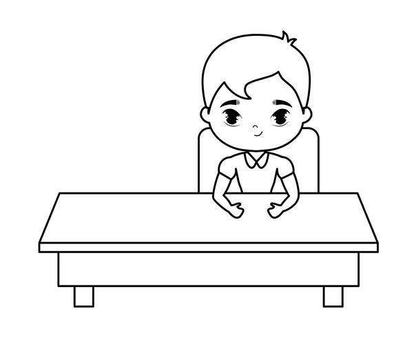 student boy sitting in school desk