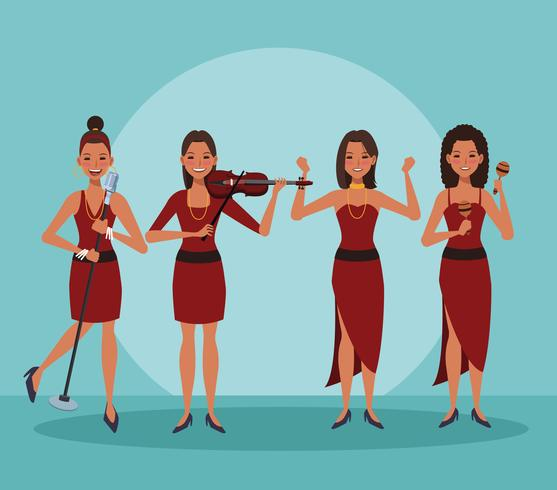 Music band cartoon vector