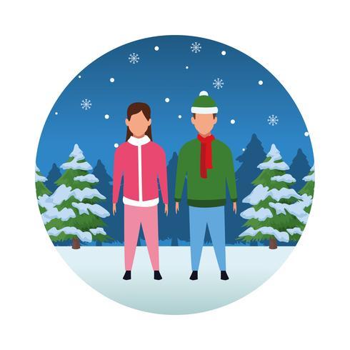 feliz navidad en invierno vector