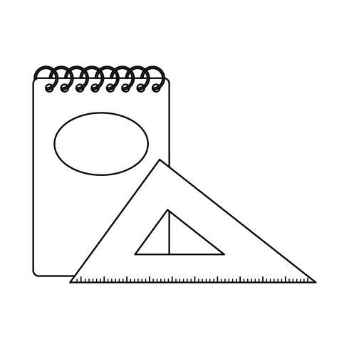 notitieboek school met driehoeksregel vector