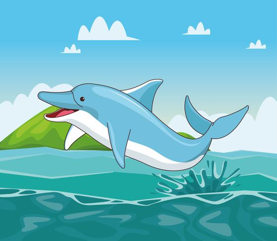 Delfin i havet tecknad vektor