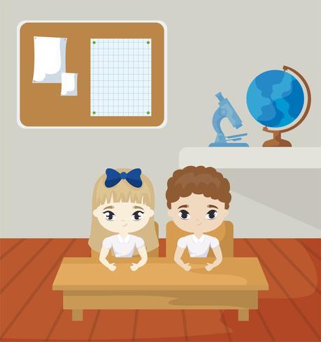 pequenos estudantes na cena da sala de aula