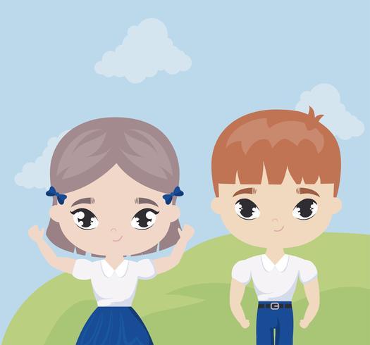cute little students in landscape scene vector