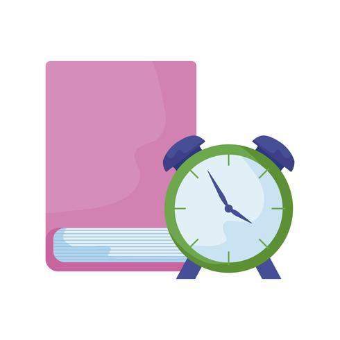 libro de la biblioteca con reloj despertador