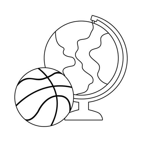 globo terrestre com balão de basquete