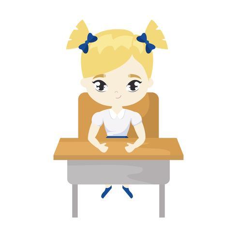 niña estudiante sentada en el escritorio de la escuela vector