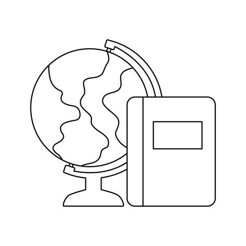 globo terrestre con scuola di libri di testo