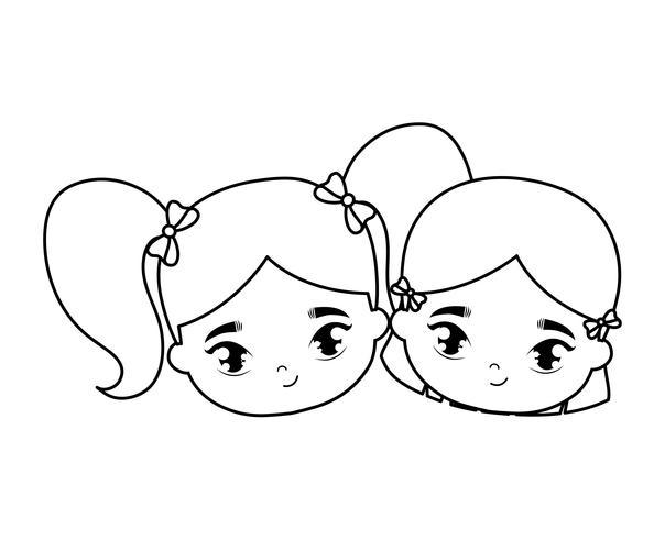 hoofden van kleine meisjes avatar karakter vector