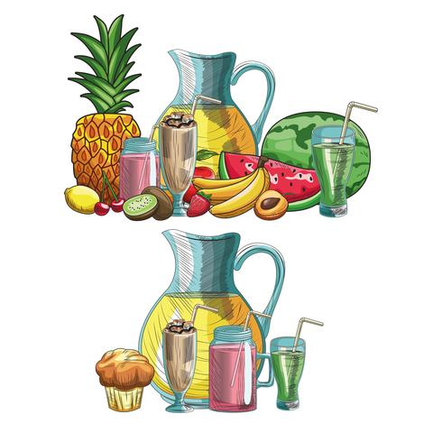 hand drawn fruits and drinks vector