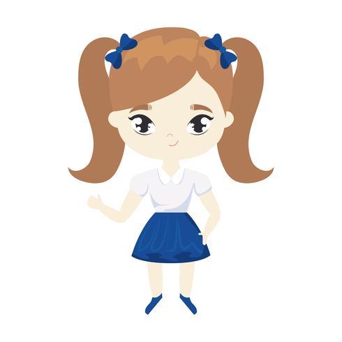 cute little student girl avatar character