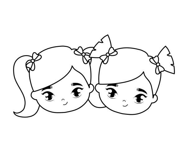 Köpfe von kleinen Mädchen Avatar Charakter